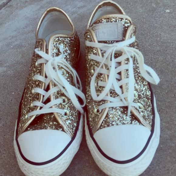 1dc09cf5a688 Converse Shoes | Womens Size 7 Gold Glitter | Poshmark